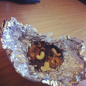 One of my new works snacks, walnuts, cashew nuts and cocoa nibs